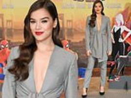 Hailee Steinfeld dazzles charcoal-grey pantsuit for Spider-Man: Into The Spider-Verse photocall