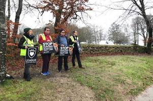 anti-hunt protest held at national trust site lanhydrock in bodmin