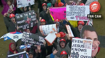 best college gameday signs live from atlanta for alabama vs. georgia sec championship