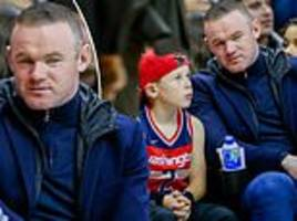 wayne rooney takes in a basketball game with his son in washington