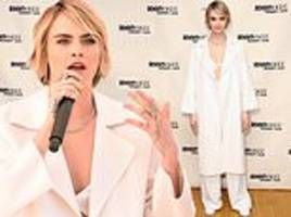 cara delevingne wows in white as she talks women's empowerment at teen vogue summit