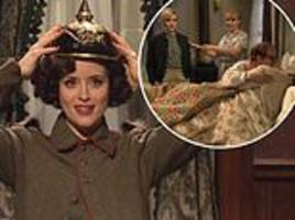 claire foy jokes 'it'll take 12 human lifetimes to watch the crown' during snl skit