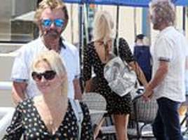 noel edmonds, 69, goes for family lunch with wife liz, 49, and son harrison, 15