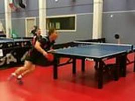 table tennis player, 15, produces incredible shot from underneath the table during game in norway