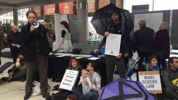 Extinction Rebellion protesters sit-in at Norwich bypass event