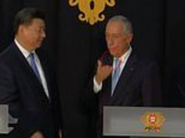 portuguese president is caught on camera drooling while meeting china's xi jinping