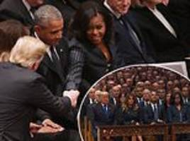 the obamas and trumps shake hands in show of unity at george h.w. bush's funeral