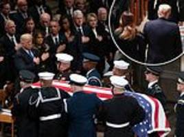 trump leaves george h.w. bush's state funeral at first opportunity
