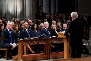george w bush leads tributes to father with emotional eulogy at state funeral