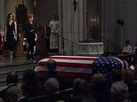 george h.w. bush's grandsons carry his casket in houston church for 41st president's funeral