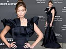 gigi hadid oozes timeless glamour in a ruffled gown as she attends pirelli calendar launch in milan