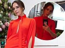 Victoria Beckham cuts a chic figure in matching red dress and jacket