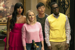 'good place' creator mike schur tells us what his awards show-themed 'bad place' would look like