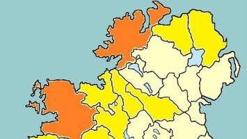 orange weather warning for donegal and mayo
