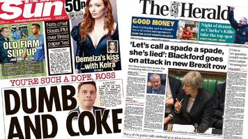 The papers: Blackford accuses May in Commons row