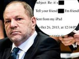 harvey weinstein shares emails from his rape accuser praising him and inviting him on dates