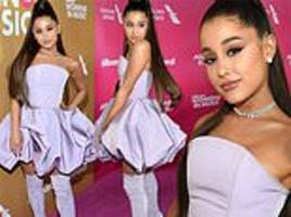Ariana Grande in lavender Christian Siriano bubble dress while named Billboard's Woman of the Year