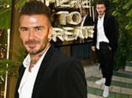 david beckham looks suave in a suit as he hosts his new adidas collaboration launch