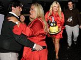 gemma collins displays her dancing on ice weight loss in a red silk minidress at restaurant launch