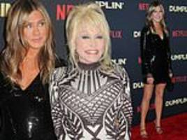 jennifer aniston turns heads in black sequined mini-dress at dumplin' premiere with dolly parton