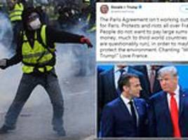 donald trump tweets support for paris riots and makes erroneous claim about protester chants