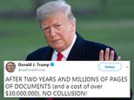 'no colusion!' trump slams mueller's russia probe and claims it found no evidence