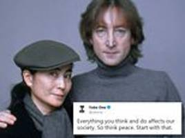 yoko ono, 85, and fans pay tribute to john lennon on the 38th anniversary of his murder