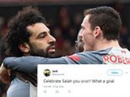 fans left confused as liverpool star mo salah looks glum after scoring a hat-trick