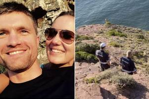woman fell 500ft to death from cliff edge after jumping for photo taken by husband