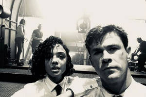 'men in black: international': chris hemsworth teases first look with tessa thompson (photo)