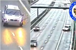 watch: bmw missing two wheels swerves along m42 - before smashing into barrier