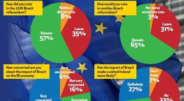 60% of Northern Ireland voters think united Ireland more likely after Brexit - 65% would now vote remain