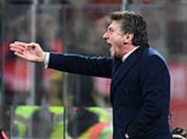 former watford boss walter mazzarri sent off for the third time this season in bore draw