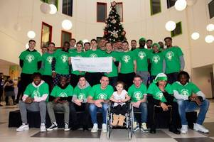 Celtic stars visit Glasgow Children's Hospital and hand over £10,000 charity donation