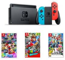 uk daily deals: nintendo switch with mario kart 8 deluxe, super mario odyssey and super smash bros under £335.