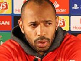 Thierry Henry glares at Loic Badiashile as Monaco youngster forgets to tuck in his chair