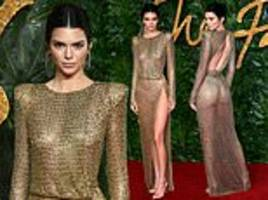 British Fashion Awards: Kendall Jenner leaves little to the imagination in a sheer gold-beaded dress