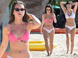 lottie moss hits the beach in barbados with made in chelsea's emily blackwell