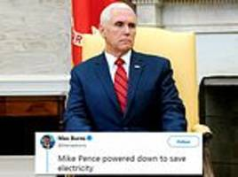 twitter users mercilessly mock mike pence for closing his eyes during oval office meeting