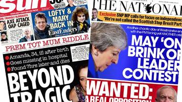 Scotland's papers: Death riddle over new mum