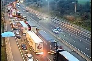 m25 and a12 traffic: car and lorry crash causes almost ten miles of queues