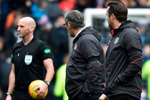 hearts boss craig levein charged over 'playing against 13 men' blast after rangers defeat
