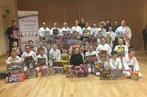 wishaw sports groups make healthy-sized donations to christmas toy appeal