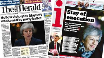 Scotland's papers: 'Hollow victory' in May confidence vote