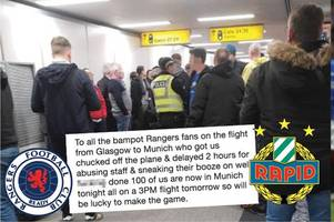 rangers fans slam fellow supporters after boozed up 'bampots' herded off flight at glasgow airport