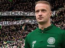 celtic fans show off banner in tribute to striker leigh griffiths as neil lennon lends his support