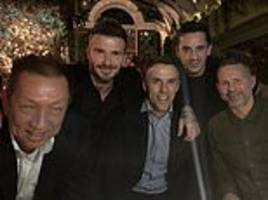 class of 92 stars head out for swanky night out as david beckham and co enjoy christmas reunion