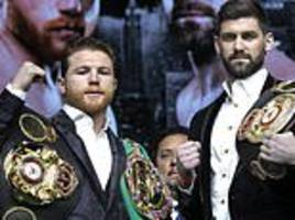rocky fielding towers above canelo alvarez but only weighs in at quarter of a pound heavier