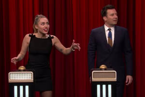 miley cyrus doesn't recognize 'party in the usa' during fallon's 'name that song' game (video)