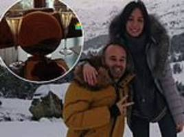 andres iniesta braves the cold as former barcelona captain has fun in the snow with family